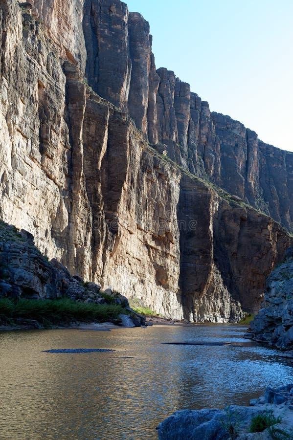 Santa Elena Canyon, Big Bend NP, TX, Mexico border. Santa Elena Canyon's sheer cliffs on the Rio Grande at sunset, Big Bend National Park, on the Texas and stock photos