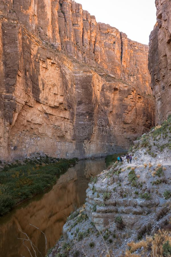 Santa Elena Canyon on the Rio Grand River in Big Bend National Park, Texas. On the USA and Mexico border. Natural international border stock images