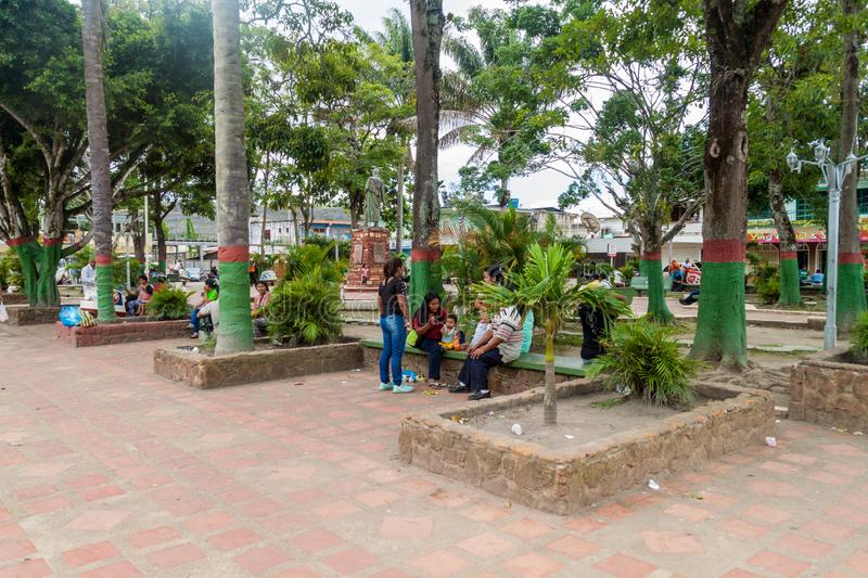 SANTA ELENA DE UAIREN, VENEZUELA - AUGUST 12, 2015: Plaza Bolivar square in Santa Elena town. Santa Elena is home to. Many travel agencies offering tours to royalty free stock image