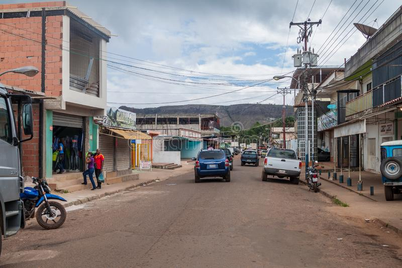 SANTA ELENA DE UAIREN, VENEZUELA - AUGUST 12, 2015: Street in Santa Elena town. Santa Elena is home to many travel. Agencies offering tours to Canaima National royalty free stock photo