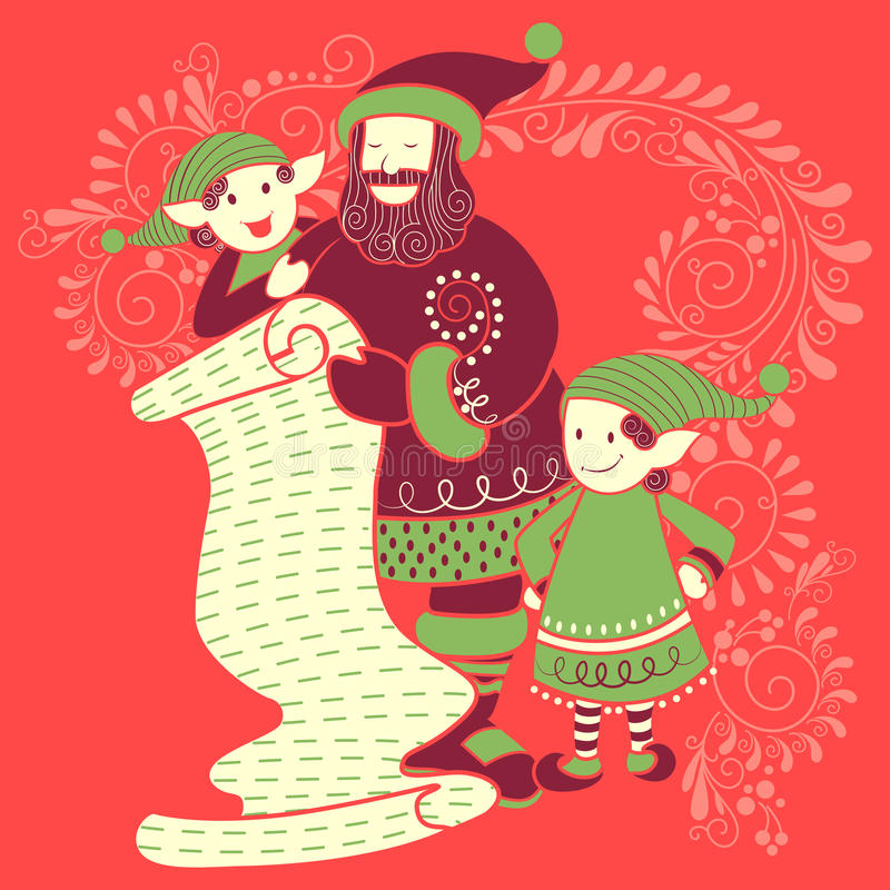 Santa and Elf with gift in Merry Christmas Holiday celebration background vector illustration
