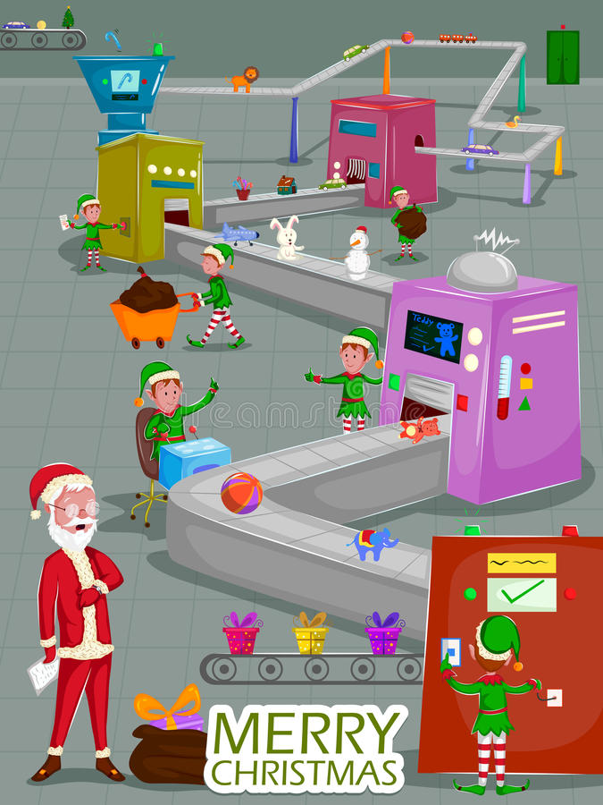 Santa and Elf making gift for Merry Christmas holiday greeting card background stock illustration