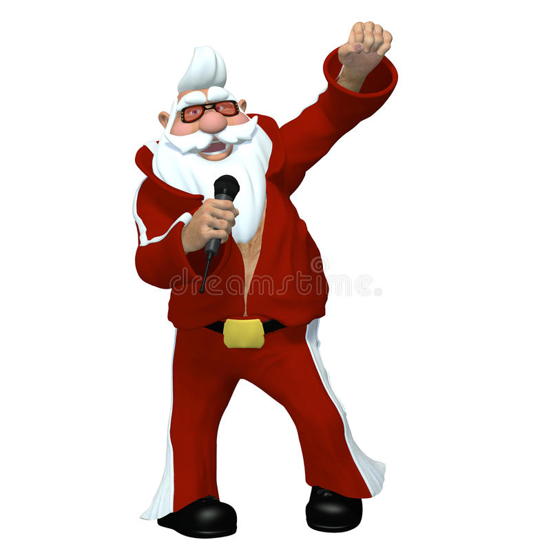 Santa - Elvis Impersonator. Santa holding a microphone singing and dressed like an Elvis Impersonator Isolated on a white background stock illustration