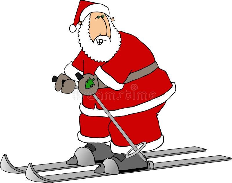 Santa em esquis ilustração do vetor