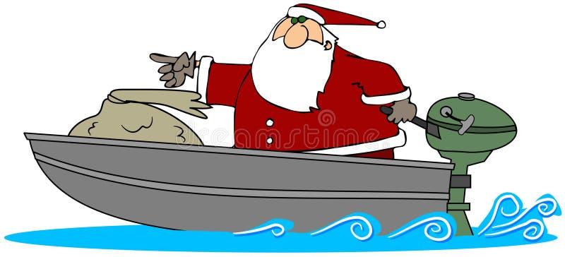 Santa em um barco de motor ilustração do vetor