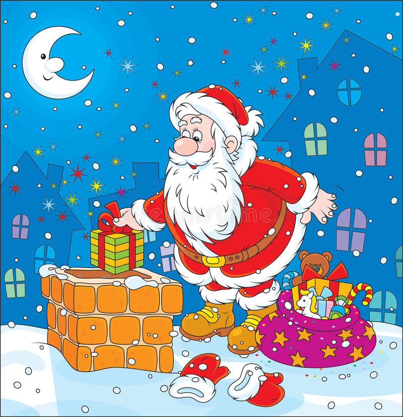 Santa em um housetop ilustração royalty free