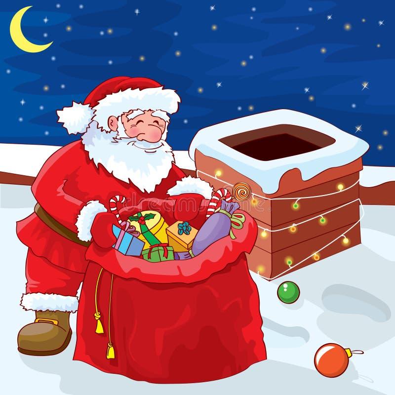 Santa em um telhado ilustração do vetor