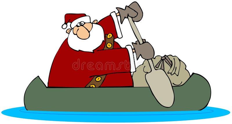 Santa em uma canoa ilustração stock