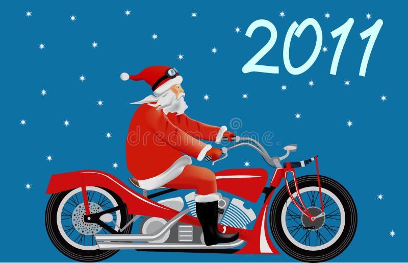 Santa em uma motocicleta ilustração stock