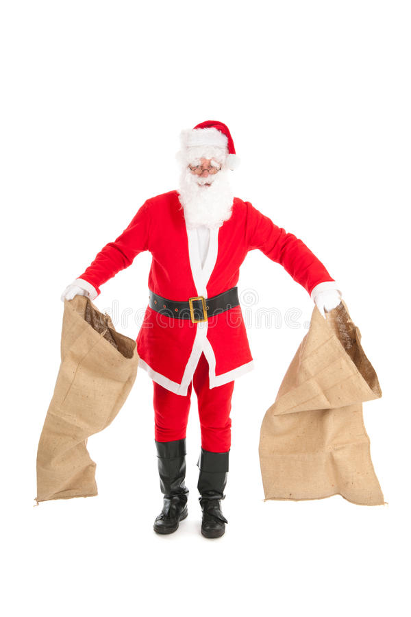 Santa with empty bags. Poor Santa Claus with empty bags cause the recession royalty free stock photography