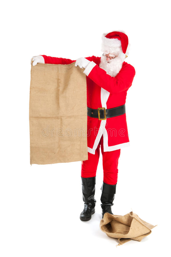 Santa with empty bags. Santa in recession time with empty bags stock images