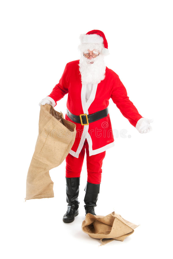 Santa with empty bags. Santa in recession time with empty bags royalty free stock photo