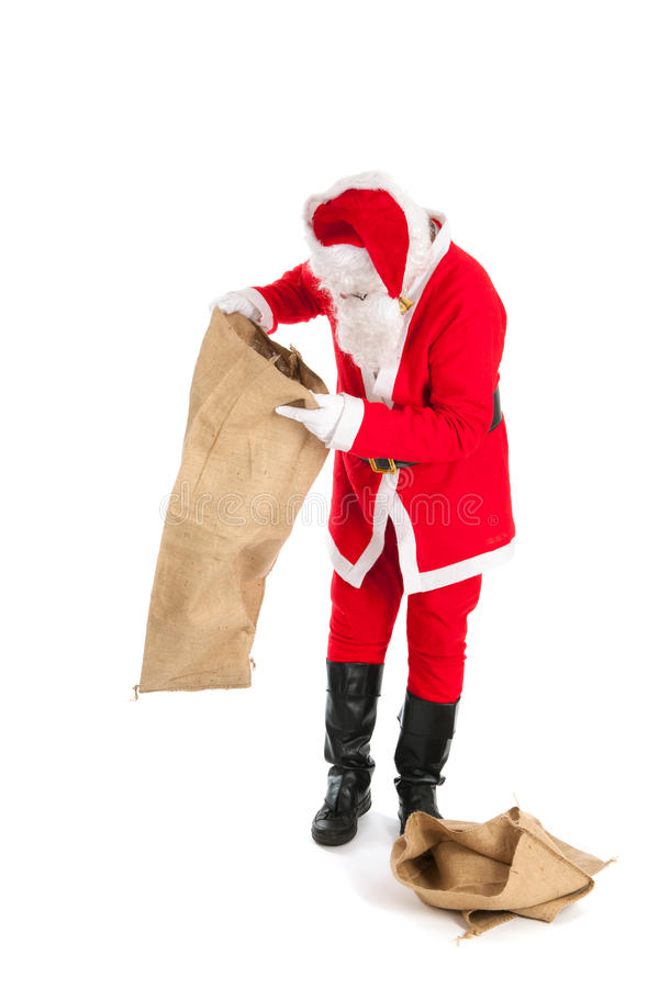 Santa with empty bags. Santa in recession time with empty bags royalty free stock photography