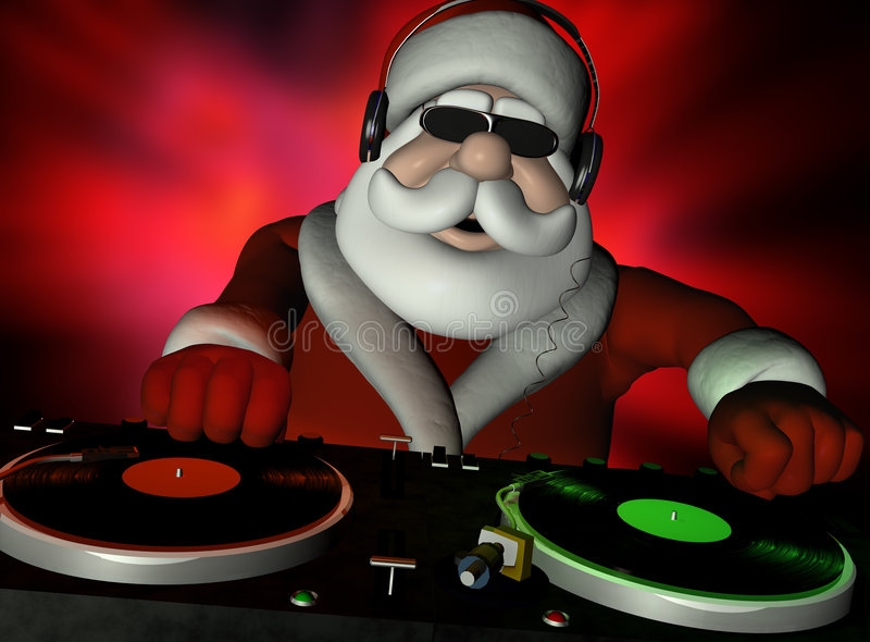 Santa en casa de DA stock de ilustración
