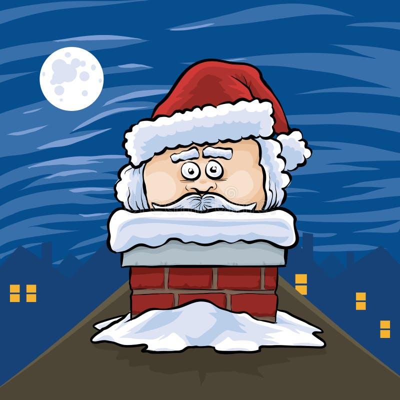 Santa en chimenea stock de ilustración