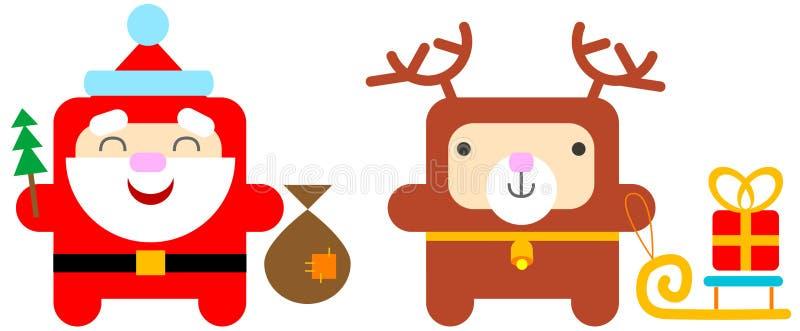 Santa en de herten van het beeldverhaal vector illustratie