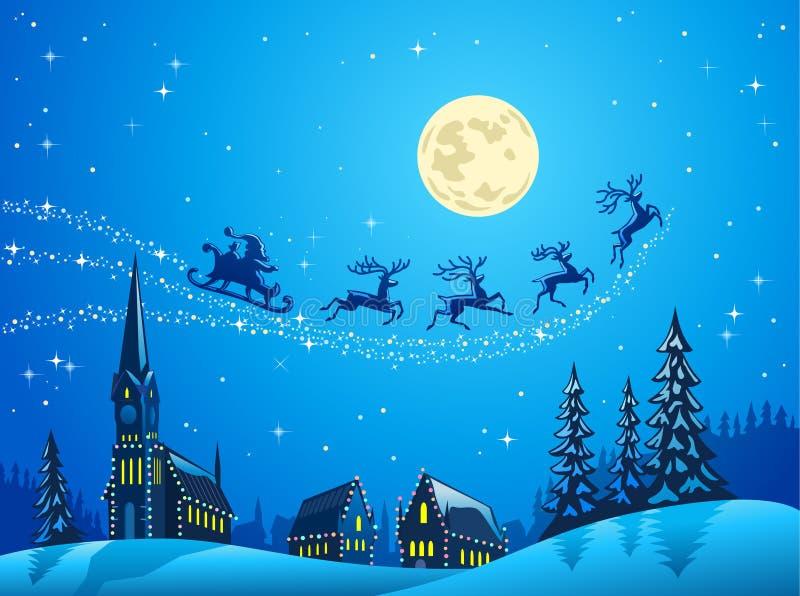 Santa en la noche de la Navidad del invierno stock de ilustración