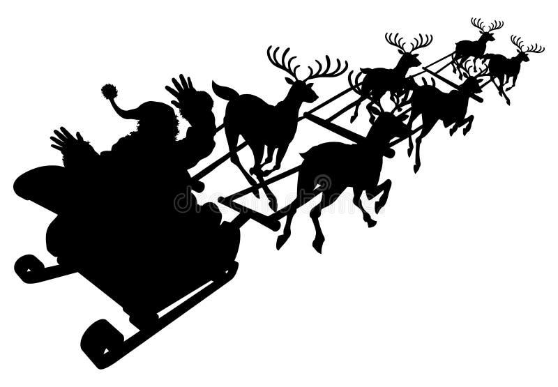 Santa en su silueta del trineo o del trineo de la Navidad ilustración del vector