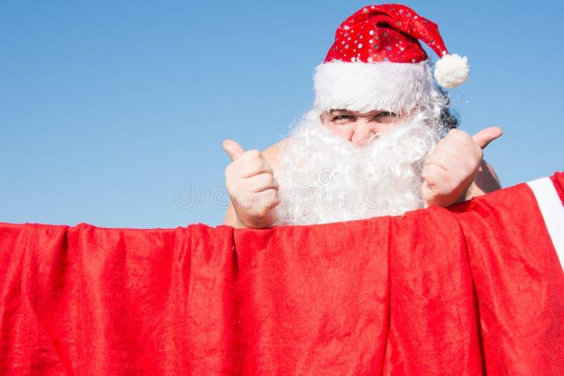 Santa engraçada Casos diários Preparação para o feriado imagens de stock