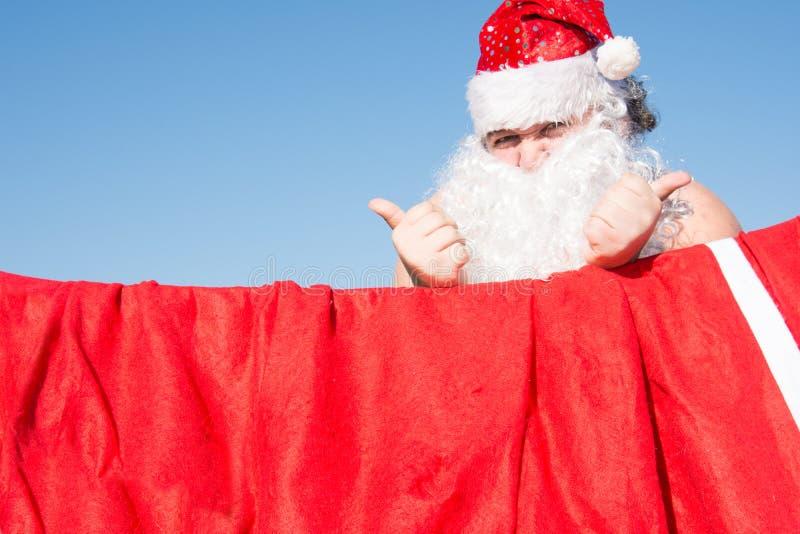 Santa engraçada Casos diários Preparação para o feriado foto de stock royalty free