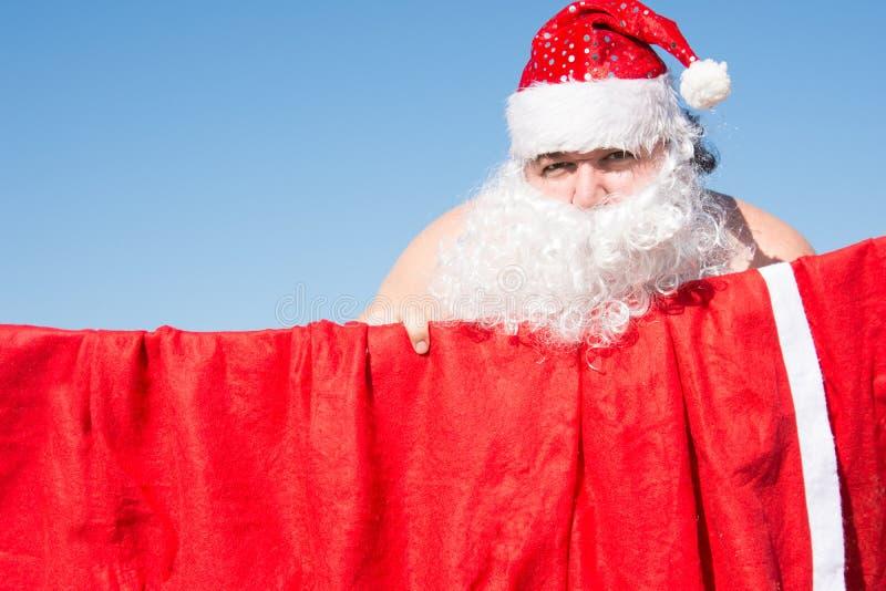 Santa engraçada Casos diários Preparação para o feriado imagem de stock