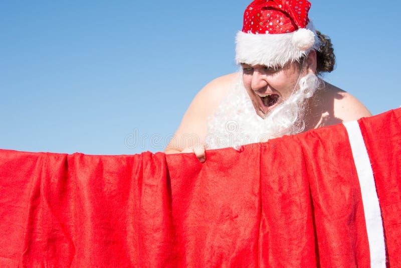 Santa engraçada Casos diários Preparação para o feriado fotos de stock royalty free