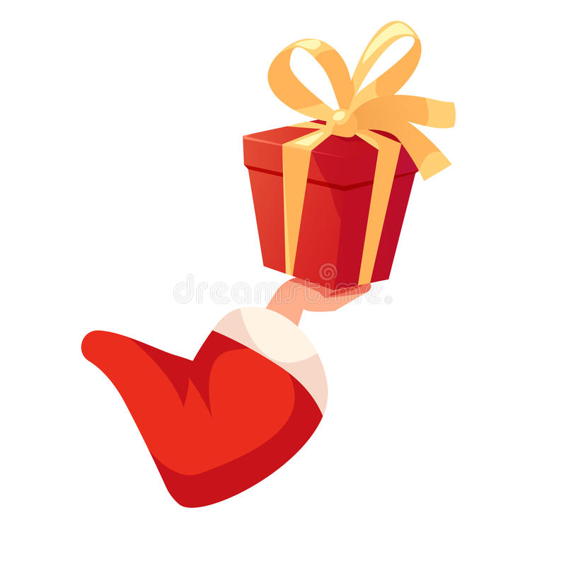 Santa entregam guardar a caixa de presente ilustração stock