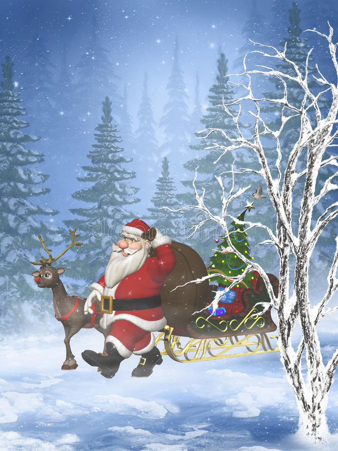 Santa est prochains 3 illustration stock