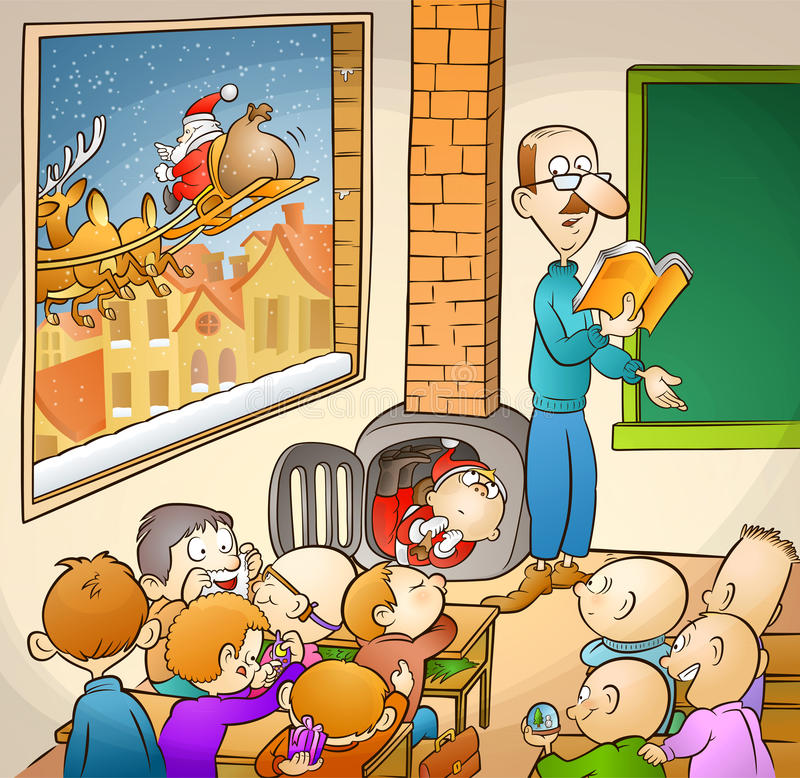 Santa et étudiants illustration stock