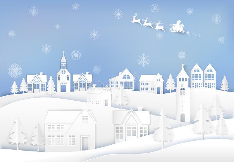 Santa et cerfs communs dans la ville de ville avec le fond de flocon de neige Carte de saison de Christmast illustration de vecteur