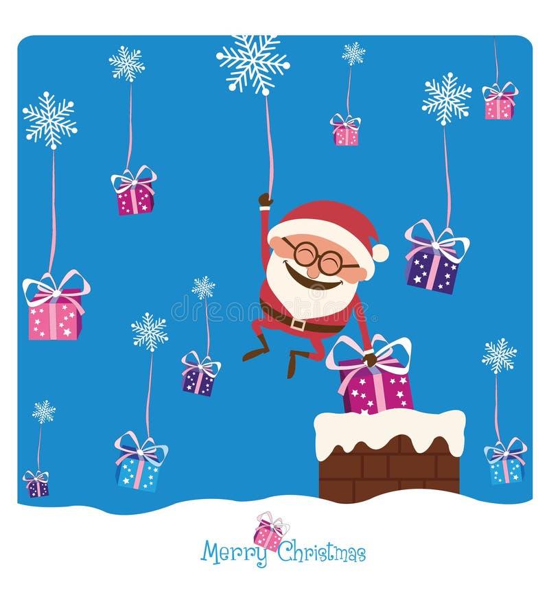 Santa et cheminée et Noël Gifs image libre de droits