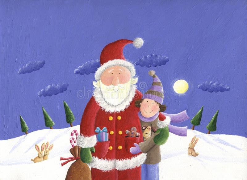 Santa et gosse illustration de vecteur