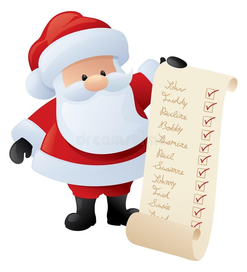Santa et la liste illustration stock
