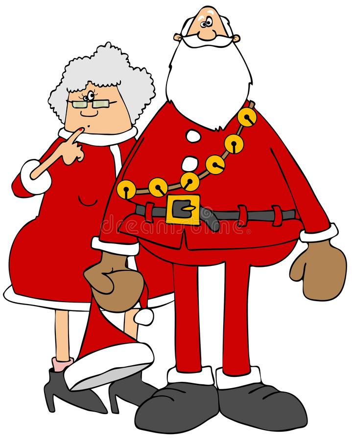 Santa et ornements ou graphismes de Mrs claus illustration stock