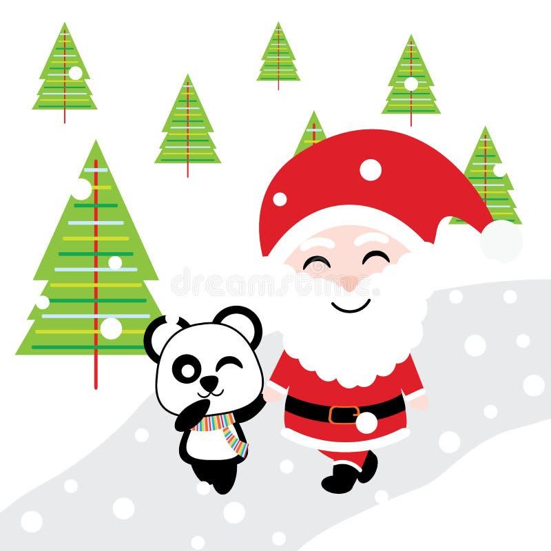 Santa et panda mignons marche ensemble sur la bande dessinée de fond de neige, la carte postale de Noël, le papier peint, et la c illustration stock