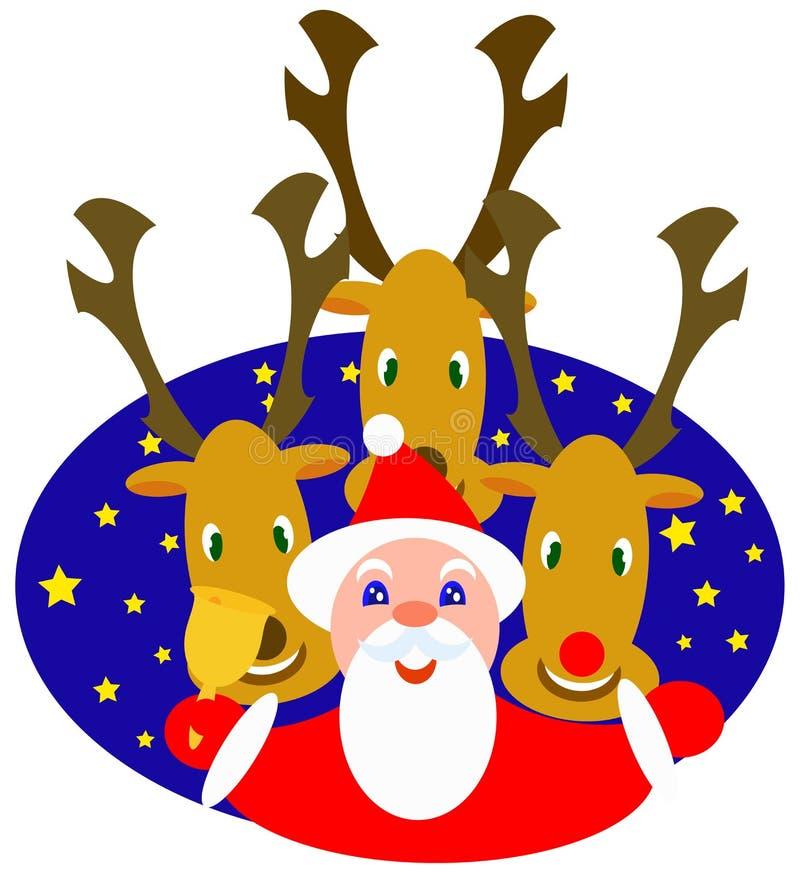 Santa et rennes illustration libre de droits