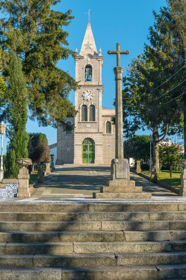 Santa Eulalia church in Pacos de Ferreira, north of Portugal. Mother church.  royalty free stock photos