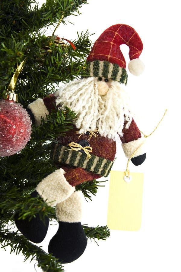 santa för julclaus etikett tree royaltyfri foto