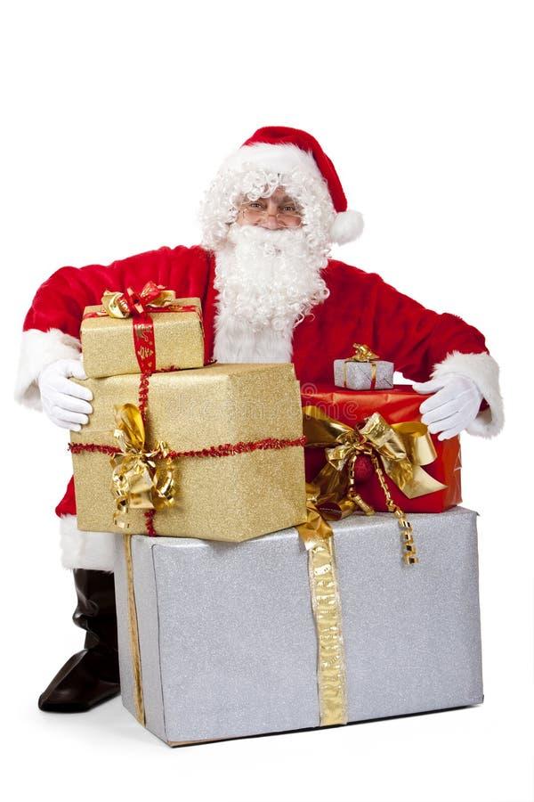 santa för julclaus gåvor bunt arkivbild