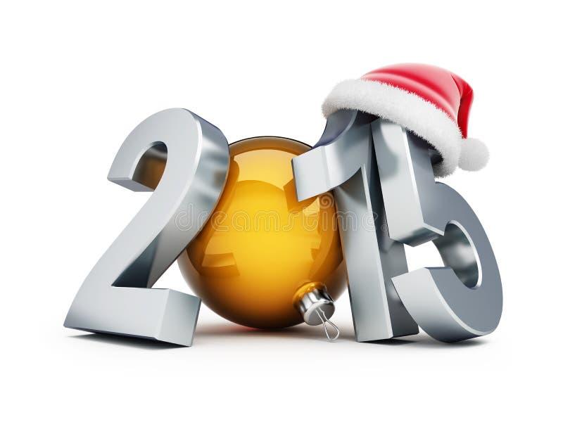 Santa för lyckligt nytt år hatt 2015 royaltyfri illustrationer