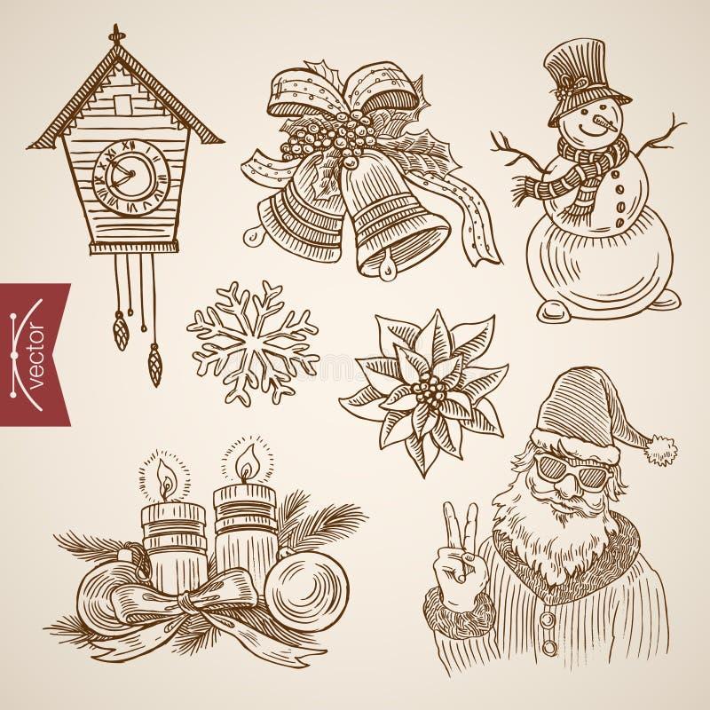 Santa för nytt år för jul för handdrawn retro vektor rolig snögubbe royaltyfri illustrationer