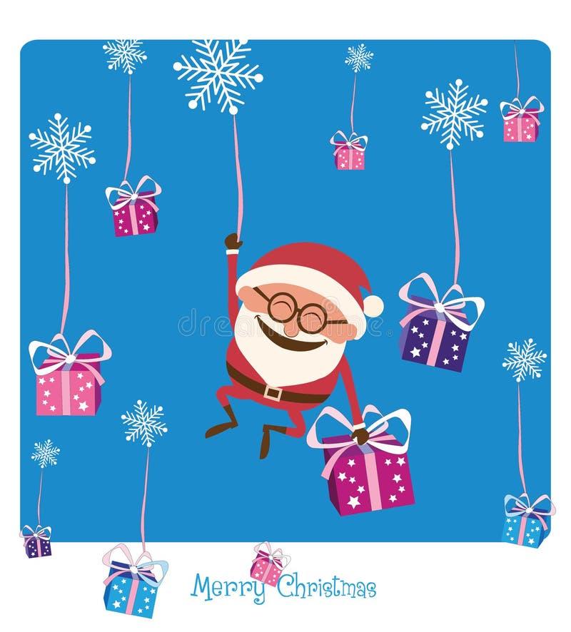 Santa Falling avec Noël Gifs image libre de droits