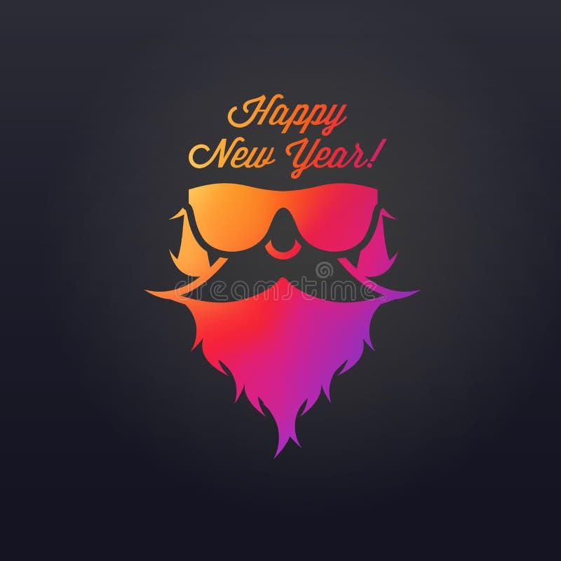 Santa farpada nos óculos de sol Feliz Natal e ano novo feliz Ilustra??o do vetor ilustração do vetor