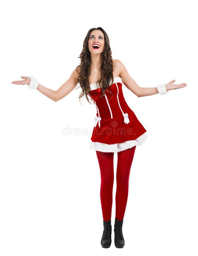Santa faz uma apresentação fotos de stock royalty free