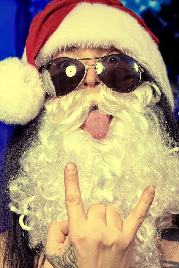 Santa fazendo caretas imagens de stock