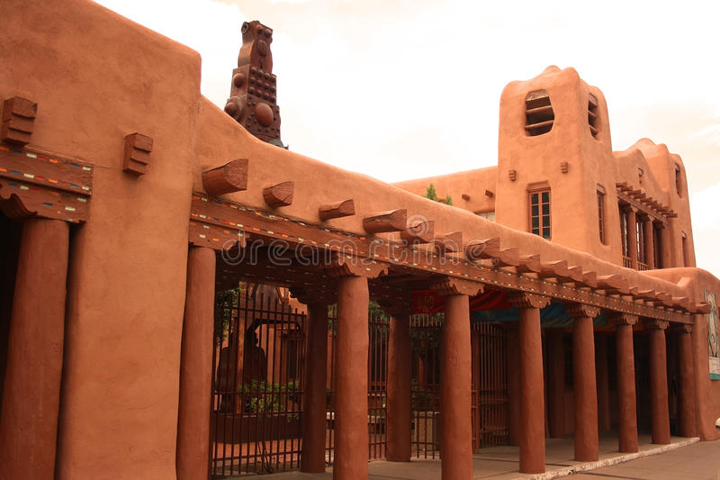 Santa Fe adobe architecture. The building of the Museum of Contemporary Native Art in Santa Fe, New Mexico. An example of typical adobe architecture, very stock image