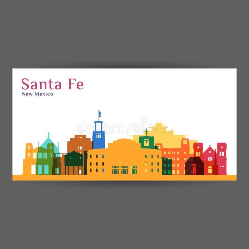 Santa Fe city architecture silhouette. Colorful skyline. City flat design. Vector business card vector illustration