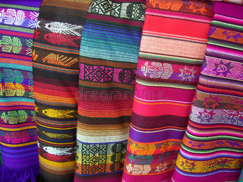 Santa Fe Colors. Photo of colorful textiles for sale in Santa Fe New Mexico