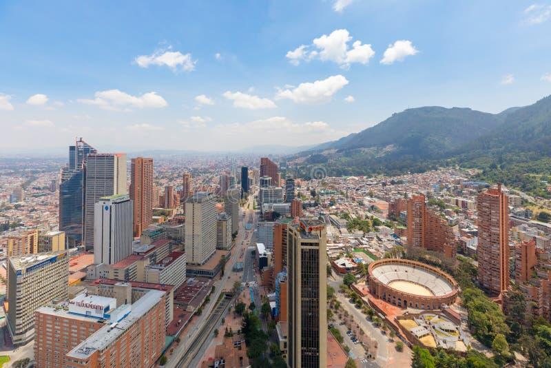 Santa Fe för flyg- sikt för Bogota tionde gata område arkivbild