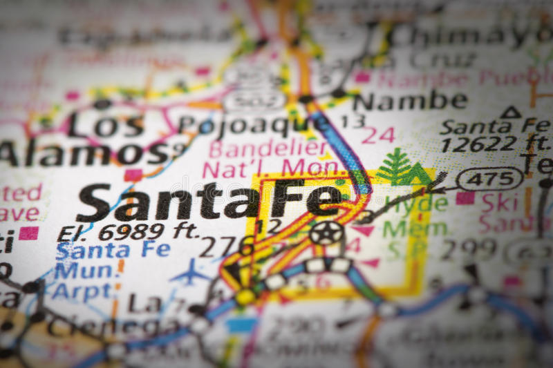 Santa Fe on map. Closeup of Santa Fe, New Mexico on a road map of the United States royalty free stock photo